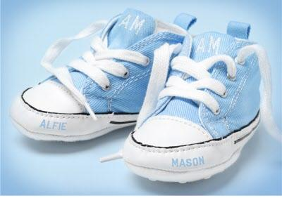 Congratulations New Baby Card - Blue Baby Shoes With Babies Name On Them.