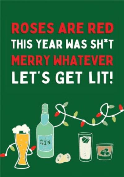 Funny Let's Get Lit Covid Christmas Card