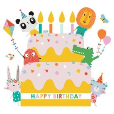 Lemon Ribbon Characters Birthday Cake Card