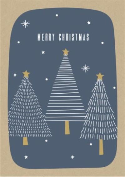 Three Tree Blue Christmas Card