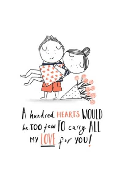 Not Enough Hearts To Carry All My Love For You Cute Valentine's Day Card
