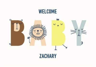 Cute new baby animals card