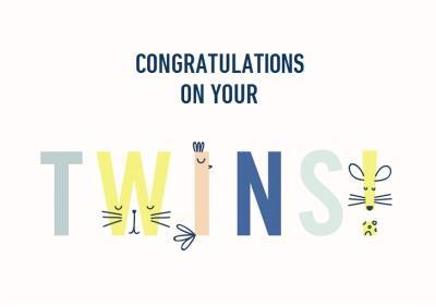 Cute new baby twins animal card