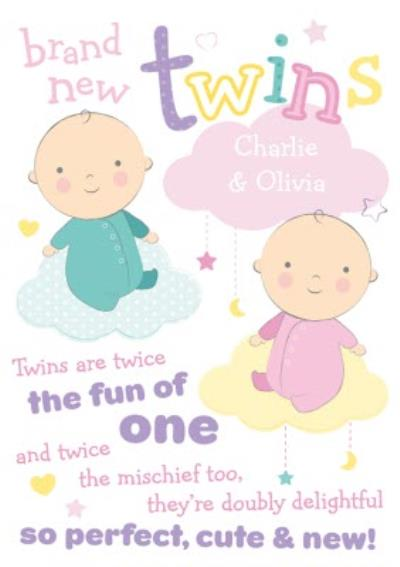 Brand New Twins New Baby Card