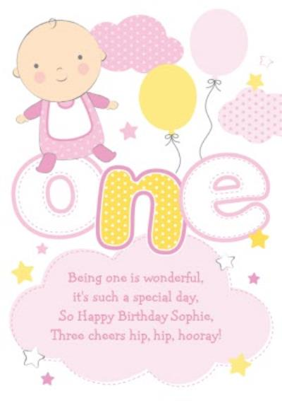 Clouds And Stars Yellow And Pink Personalised Happy 1st Birthday Card
