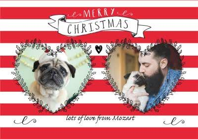Red And White Striped Heart Personalised Photo Upload Merry Christmas Card