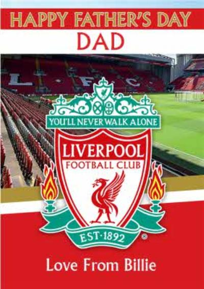 Liverpool Football You'll Never Walk Alone Happy Father's Day Card
