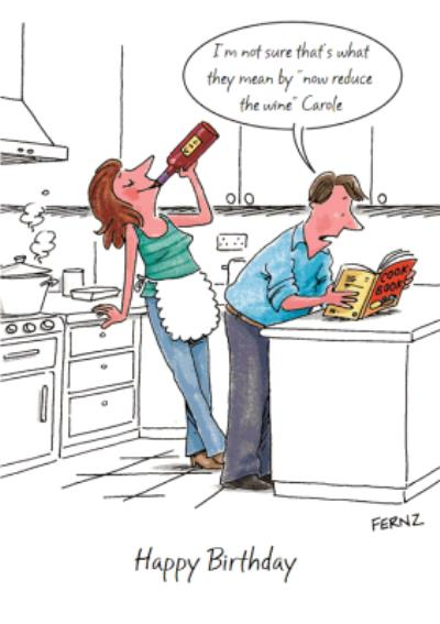 Personalised Funny Comic Now Reduce The Wine Card