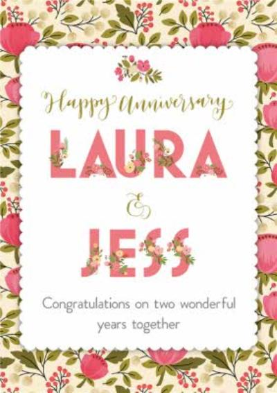 Personalised Bright Pink Flowers Happy Anniversary Card