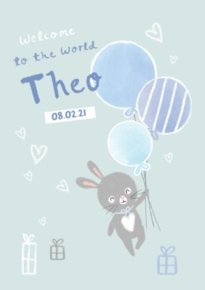 Cute Rabbit Welcome To The World New Baby Boy Card