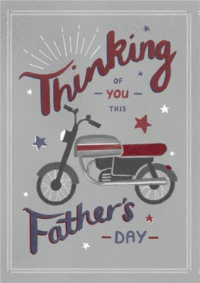 Motor Bike Illustration Thinking Of You This Father's Day Card