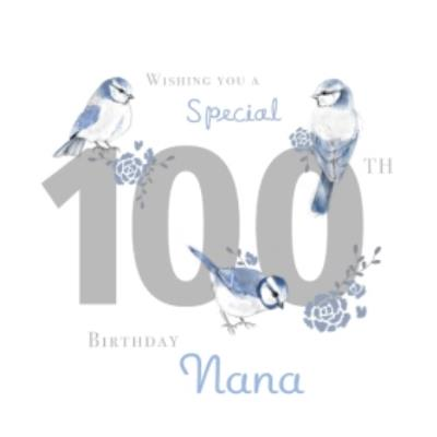 Millicent Venton Birthday Age 100 Nana Blue Floral Flower Birds Female Roses
