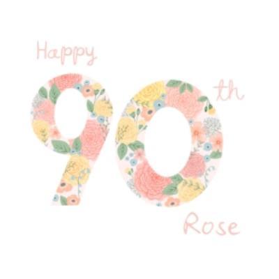 Floral Pattern Illustration Ninetieth Personalised Birthday Card