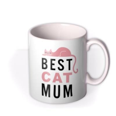 Typographic Cute Best Cat Mum Personalised Mug