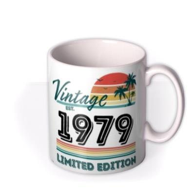 Personalise Date Of Birth Vintage Typographic Photo Upload Mug