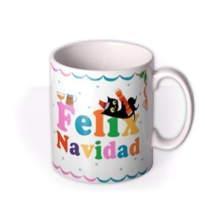 Retro Cat Themed Felix Feliz Navidad Christmas Mug
