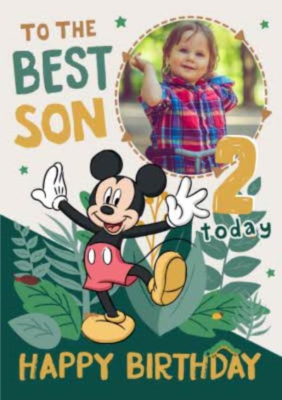 Disney Mickey Mouse Photo upload 2nd Birthday Card To The Best Son