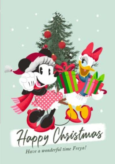 Disney Minnie and friend Have a Wonderful Time Christmas Card