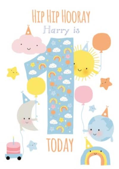 Hip Hip Hooray Personalised Happy 1st Birthday Card