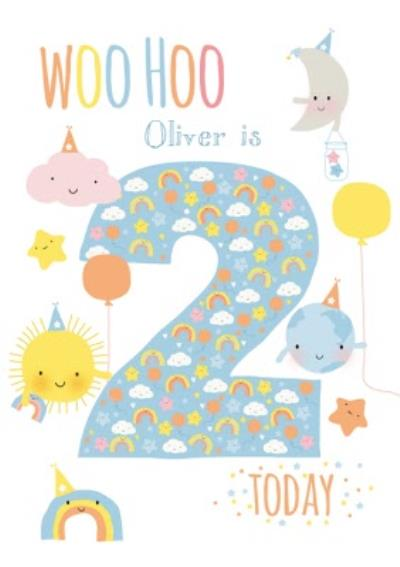 Cartoon Cloud Moon Sun World Personalised Happy 2nd Birthday Card