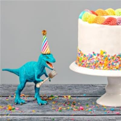 Colourful Dinosaur Happy Birthday Cake With Sprinkles Card