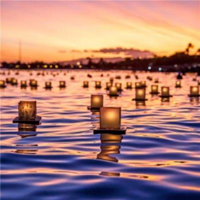 Photographic Lanterns On River Diwali Just a Note Card