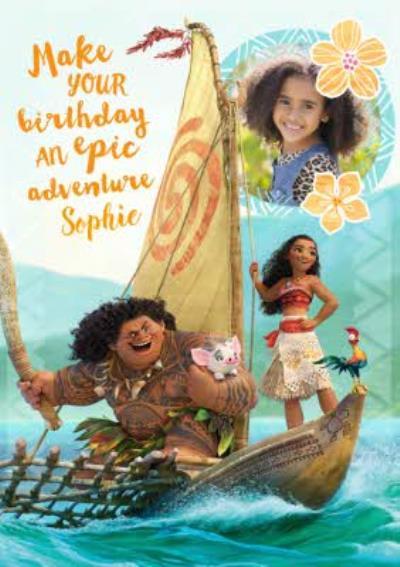 Moana Birthday Card - Photo Moana Card