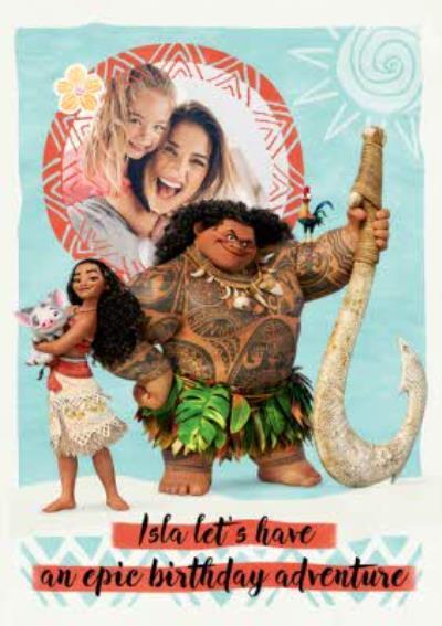 Disney Moana Birthday Photo Card