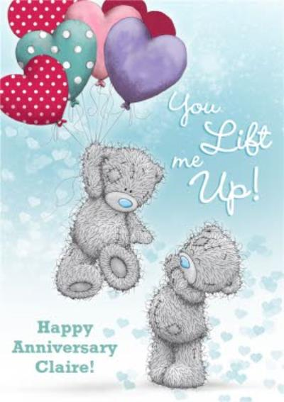 Tatty Teddy You Lift Me Up Personalised Happy Anniversary Card