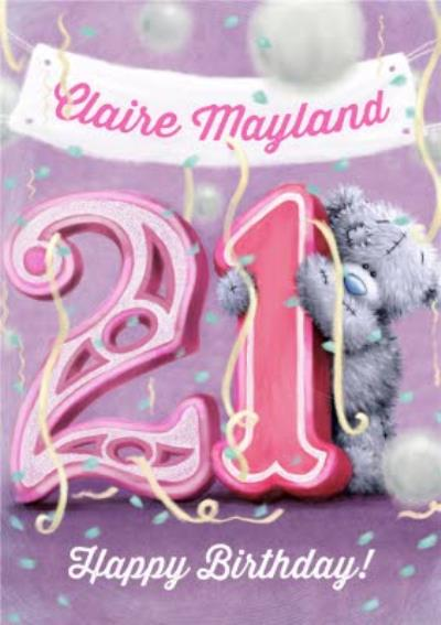 Tatty Teddy Balloons And Streamers Personalised Happy 21st Birthday Card