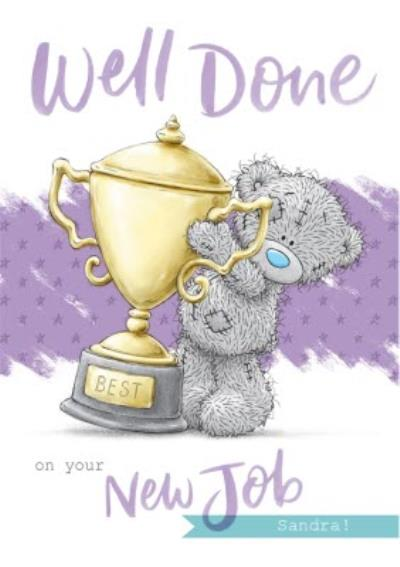 Me To You Tatty Teddy Giant Trophy Well Done Congrats Personalised Card