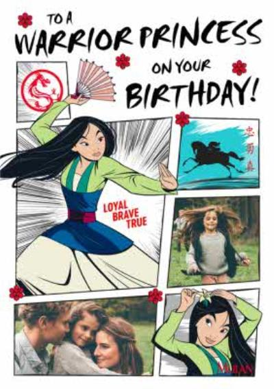 Disney Mulan Warrior Princess Photo Upload Birthday Card