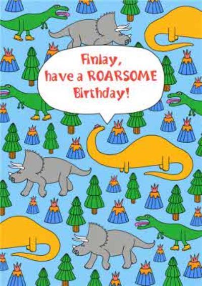 Dinosaurs Volcanoes Have A Roarsome Birthday Birthday Card