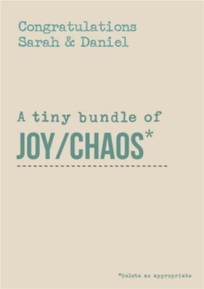 Congrats On A Tiny Bundle Of Joy And Chaos New Baby Card