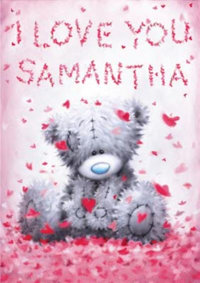 Tatty Teddy Rose Petals Spell A Message Personalised Valentine's Day Card