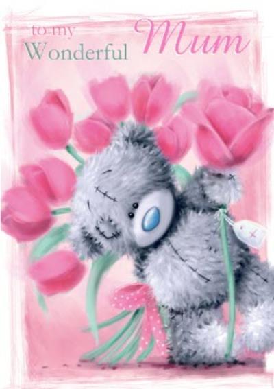 Cute Tatty Teddy Floral Card For Mum
