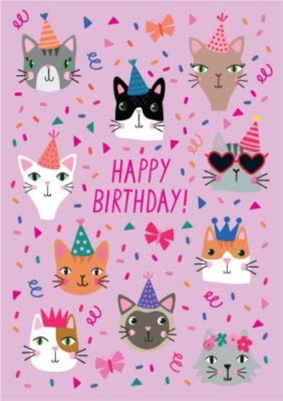 Cute Happy Birthday Cats Card