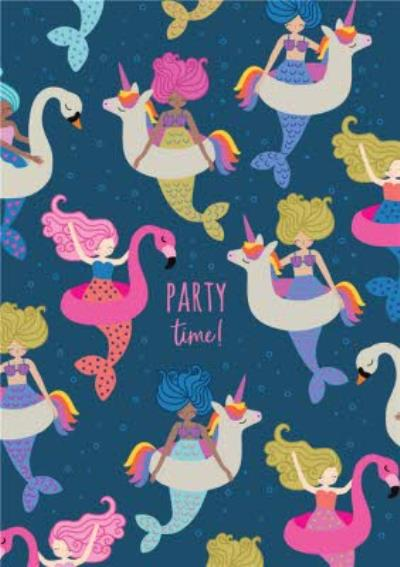 Party Time Mermaids Birthday Card