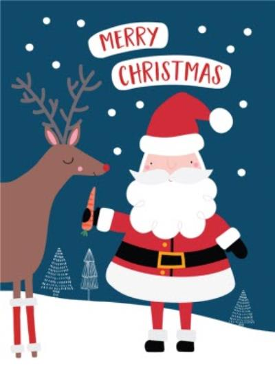 Cute Father Christmas And Reindeer Merry Christmas Card | Moonpig