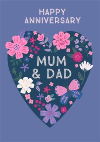 Natalie Alex Designs Cute Floral Heart Happy Anniversary Card