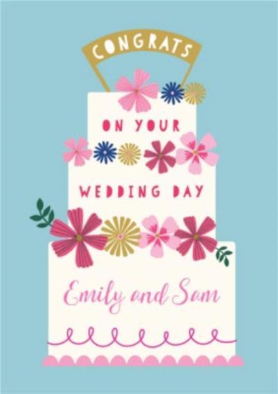 Natalie Alex Designs Cake Floral Personalised Congratulations Wedding Card