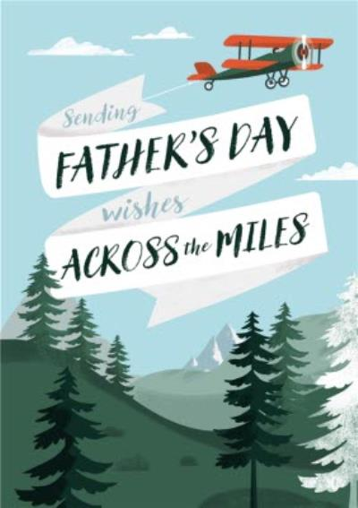 Illustration Spreading Fathers Day Wishes Across The Miles Card