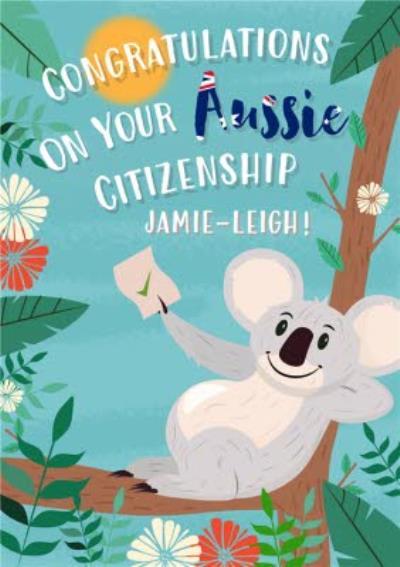 Congratulations On Your Aussie Citizenship Illustrated Koala Bear Card