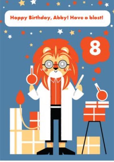 Kids Birthday Card - Scientist - Science - Animals - Lion