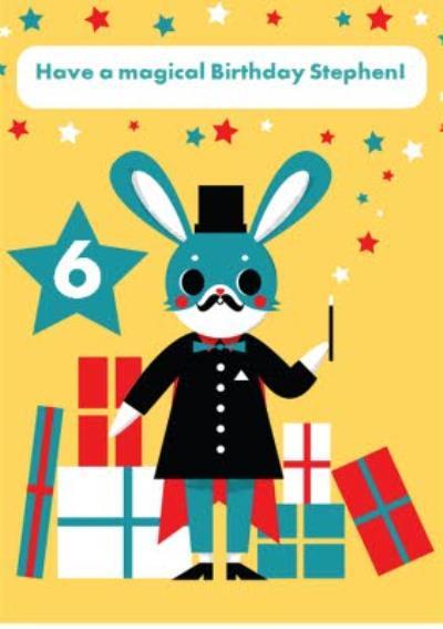 Kids Birthday Card - Magician - Magic - Animals - Rabbit