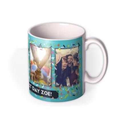Bright Teal And Confetti Photo And Personalised Text Mug