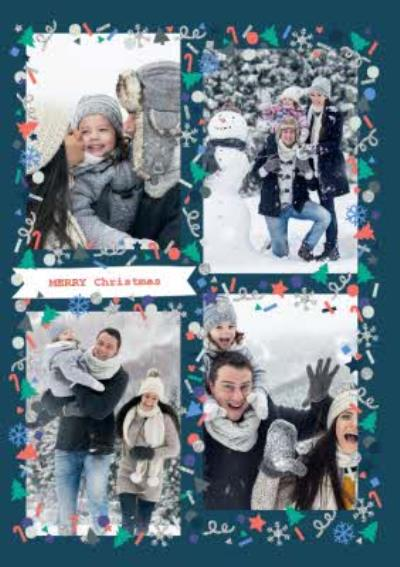 Oh Cheers! 4-Photo Upload Vertical Christmas Card