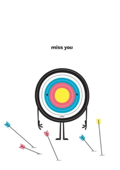 Modern Target Arrows Miss You Card
