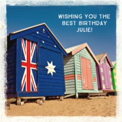 Australian Beach Huts Personalised Birthday Card