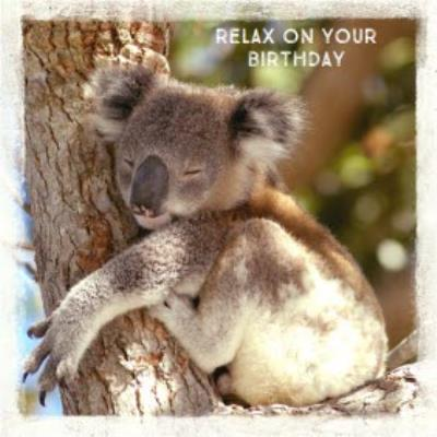 Relax On Your Birthday Koala Personalised Happy Birthday Card